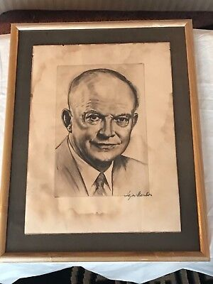 Dwight Eisenhower Pencil Drawing Print - Signed by Artist in a Wood Frame