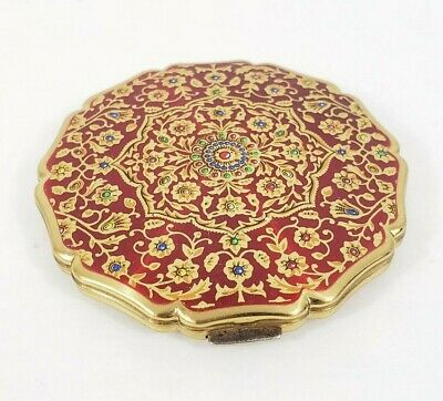Stratton Vintage Powder Compact Red Floral Gold Tone Made In England