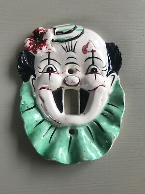 Vintage Circus Clown Light Switch Cover Ceramic Carnival Novelty Kids
