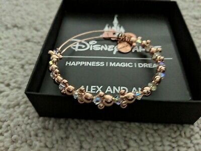 Disney Parks Alex and Ani Mickey Icon Rose Gold Bead Bangle Bracelet Used Minnie
