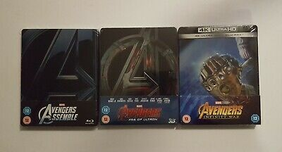 Lot Blu-ray steelbook : AVENGERS - Trilogie - Ed. import UK ( opus 2 & 3 neufs )