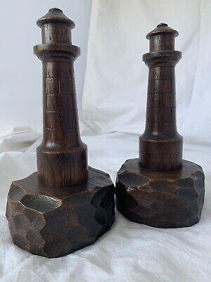 """ANTIQUE Vintage pair of WOODEN LIGHTHOUSE BOOKENDS turned carved figures,9""""high"""