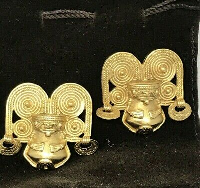 Pre-columbian Reproduction 24 Karat Gold Plated Tairona Antropomorfo Rey