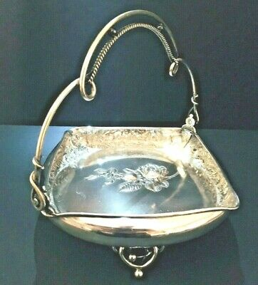 Antique Wilcox Silver Co. Ornate & Highly Embellished Silverplate Brides Basket