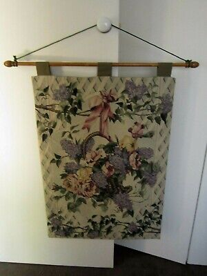 "Vintage Tapestry Wallhanging ""Lilac Time"" Made In USA with Timber Hanger"