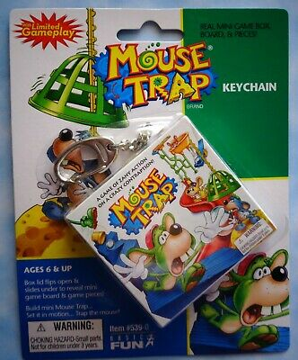 Mouse Trap miniature board game with playing pieces Basic Fun Keychain NIP RARE