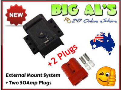 50Amp Anderson External Mounting System Kit Bracket Cap Cover + 2 **RED** Plugs