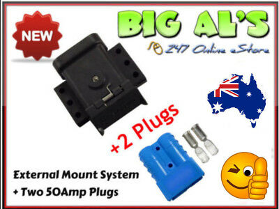 50Amp Anderson External Mounting System Kit Bracket Cap Cover + 2 **BLUE** Plugs
