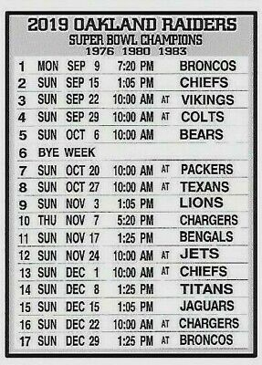Clearance! Oakland Raiders 2019 Nfl Schedule Fridge Magnet (Pacific Time Zone)