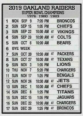 image regarding 49ers Schedule Printable identified as NFL 2019 SAN Francisco 49Ers Oakland Raiders Magnet