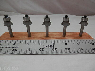 "(5) 3/4"" D 25° Chamfer/Trim Carbide Tip Router Bit Bearing degree qw"