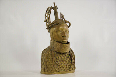 Gold Colored Benin Bronze Male Bust 13.5"