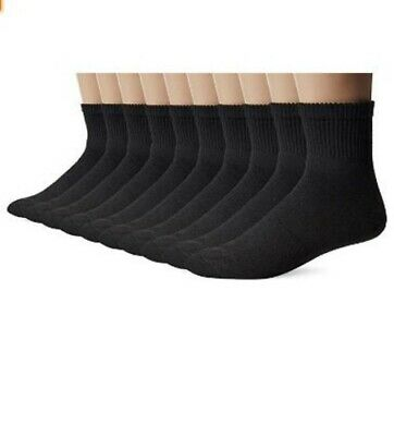 Gildan Men's Big and Tall Ankle Socks 10 Pair Pack, Black, Shoe Size: 12-15
