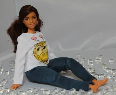 №054 Clothes for Curvy Barbie Doll. Blouse and Leggings for Dolls.