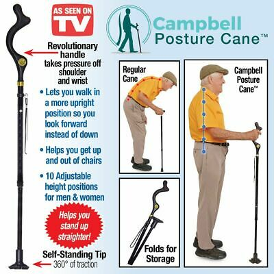 """Walking Cane Posture Support Handle Adjustable Height 37"""" to 46"""""""