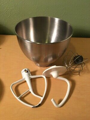 Stand Mixer Bowl Whisk Dough Hook Attachment Coated Metal KitchenAid K45