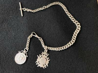 """Antique English graduating sterling silver fob chain """"Sherwood Foresters Boxing"""""""