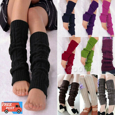Ladies Women Winter Warm Leg Warmers Cable Knit Knitted Crochet Socks Leggings