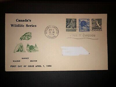 Canada #335, 336, 343 Combination FDC - Wildlife Series Combo Cover April 1 1954