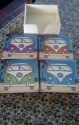 Shabby Chic Set Of 4 Ceramic Tile Vw Camper Van Coasters & Holder.