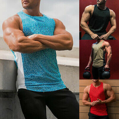 Mens Sleeveless Vest Tops Slim Fit Sport Shirt Gym Muscle Tee Bodybuilding Tank