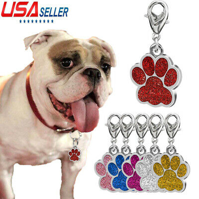 2019 Premium Dog Tags Cat Kitten Puppy Pet ID Name Collar Tag Paw Bling Glitter