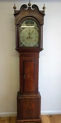 Oak And Mahogany Victorian Longcase  Clock With Rocking Ship Automation