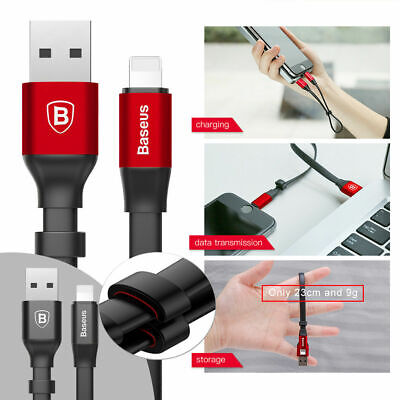 BASEUS 23cm Short USB Sync Data Cable 2A Fast Charger For iPhone SE 6S 7 7+ 8+