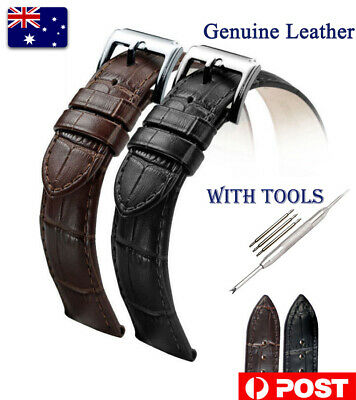 Genuine Leather Watch Wrist Band Quick Release Strap 16-24mm Belt With Tools AU