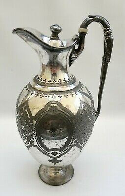 Vintage 1860s James Dixon & Sons Pewter  Art Nouveau Water Claret Wine Jug 21cm