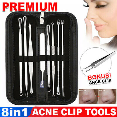 7Pcs Blackhead Extractor Tool Remover For Pimple Blemish Comedone Kit Acne Clip