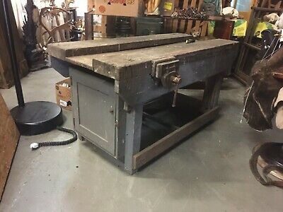 Vintage Industrial Carpenters Workbench Table , Antique Table Unit  Cupboard