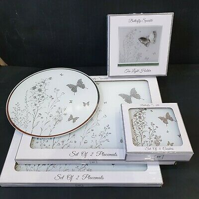 Glass placemats with matching coasters rose gold feather design