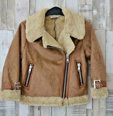 Next Beige Faux Shearling Biker Jacket Age 4 Years