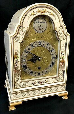 Stunning Antique Musical Cream Chinoiserie Three Train Clock Lacquered Oriental