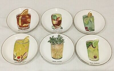 Retro Dinner Party Ceramic Coasters Cocktails Japan Vintage Drink Mats Bar
