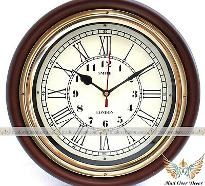 """Vintage Antique Collectible Wood & Brass 12"""" Smith London Maritime Wall Clock"""