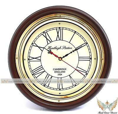 """Vintage Antique Style Maritime Wood & Brass 12"""" Huntley Wall Clock Home Decor"""