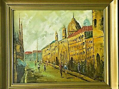 Vintage Oil On Canvas Painting Framed Cityscape-Impressionist Art Signed 21x24""