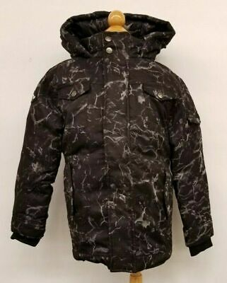 Appaman Kids Winter Hooded Coat Jacket Duck Down Feather Black Grey Gray Marble