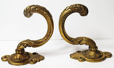A Pair Of Quality Ornate Rococo Solid Gilt Brass Antique Tie Back Hooks