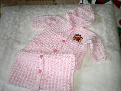 Handmade Crocheted Pink Girls Hooded Bunting for up to 6 Months
