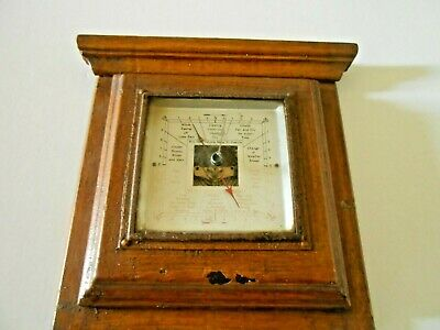 Early 20Th Century Wall Hanging  Barometer In Wooden Surround -Antique