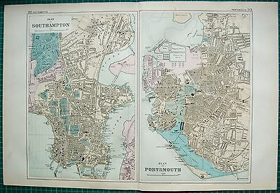 1892 Large Antique Town Plan-Southampton And Portsmouth, 2 Images