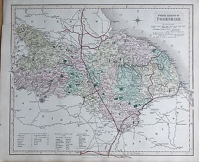 1845  Large Antique County Map - Railways, North  Riding Of Yorkshire York Whitb