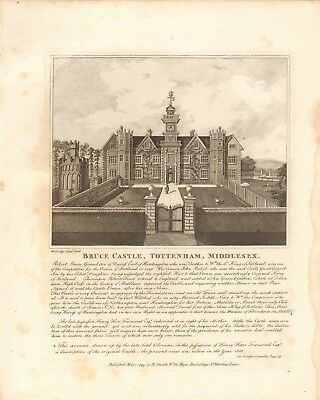 1794 Antique Print- Architecture -London - Bruce Castle, Tottenham