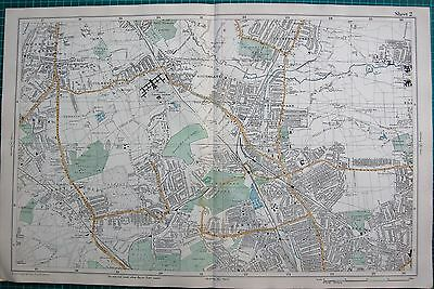 1912 Ca LARGE MAP-BACON -LONDON-MUSWELL HILL, BOWES PARK, HORNSEY SOUTHGATE
