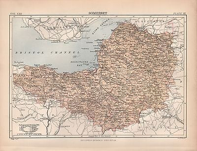 1880 ca ANTIQUE COUNTY MAP-SOMERSET, WELLS,BRUTON,TAUNTON,MINEHEAD,CHARD,YEOVIL