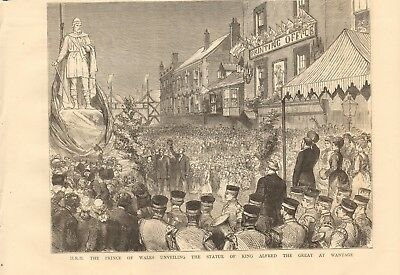 1877 Antique Print - Unveiling The Statue Of King Alfred The Great At Wantage