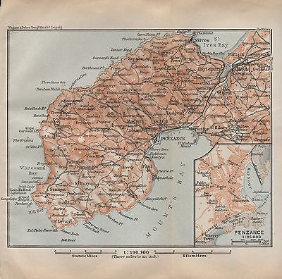 1910 Baedeker Antique Map- Uk-Cornwall, Penwith Peninsula, Inset Penzance Plan